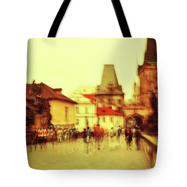 Tote Bag featuring the photograph Charles Bridge. Golden Prague. Impressionism by Jenny Rainbow