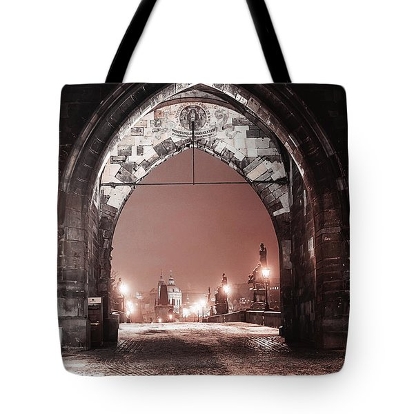 Tote Bag featuring the photograph Charles Bridge In Winter. Prague by Jenny Rainbow