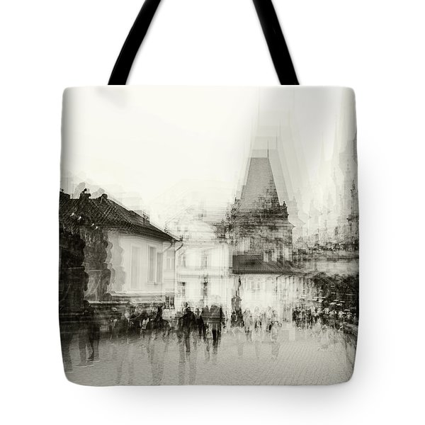Tote Bag featuring the photograph Charles Bridge Promenade. Black And White. Impressionism by Jenny Rainbow
