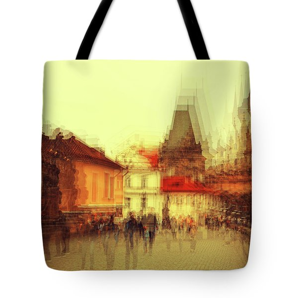 Tote Bag featuring the photograph Charles Bridge Promenade. Golden Prague. Impressionism by Jenny Rainbow