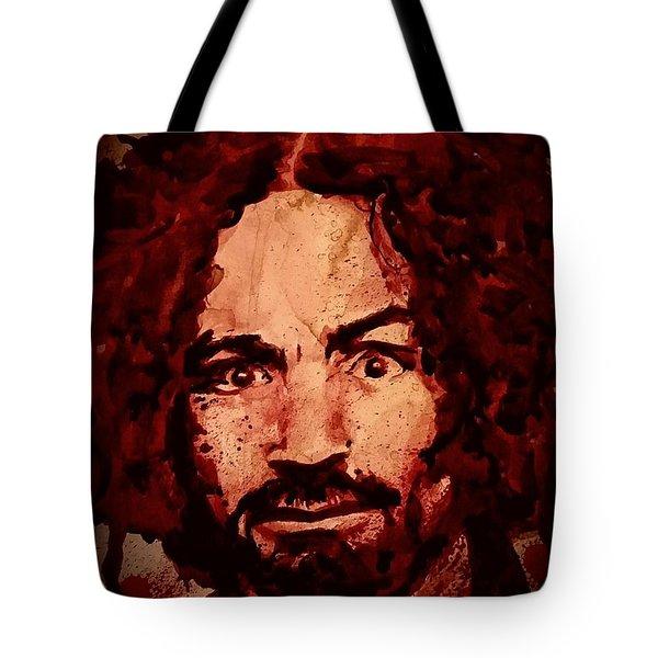 Charles Manson Portrait Fresh Blood Tote Bag