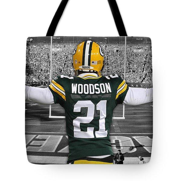Charles Woodson Green Bay Packers Stadium Art 2 Tote Bag