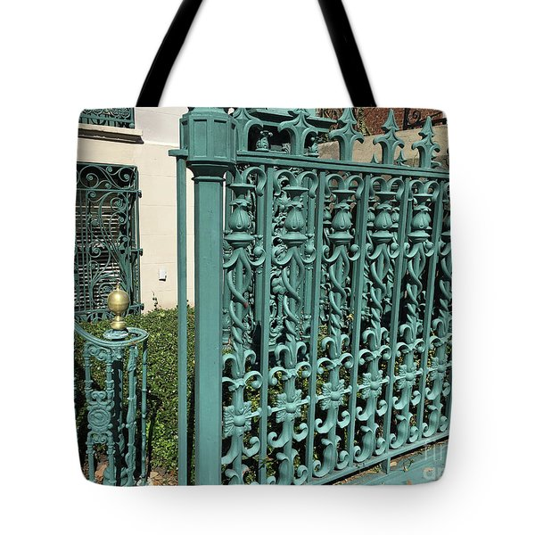 Tote Bag featuring the photograph Charleston Aqua Turquoise Rod Iron Gate John Rutledge House - Charleston Historical Architecture by Kathy Fornal