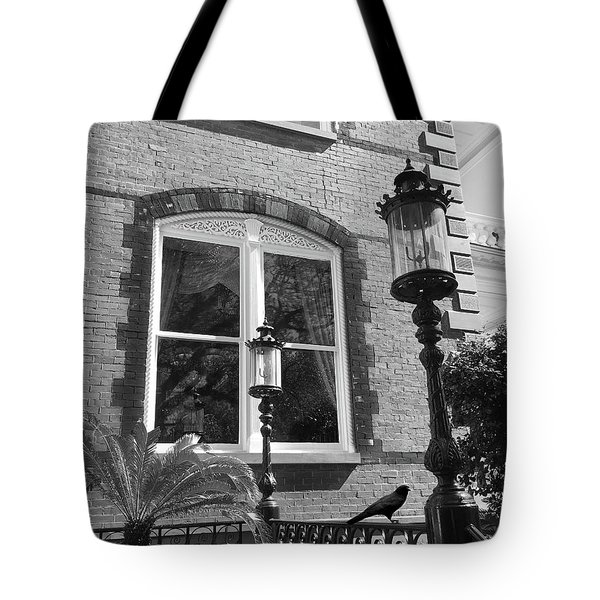 Charleston French Quarter Architecture - Window Street Lanterns Gothic French Black White Art Deco  Tote Bag