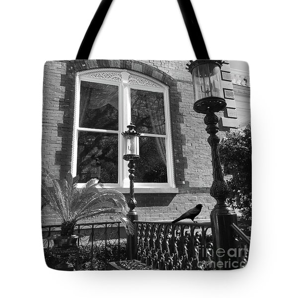 Tote Bag featuring the photograph Charleston French Quarter Architecture - Window Street Lanterns Gothic French Black White Art Deco  by Kathy Fornal