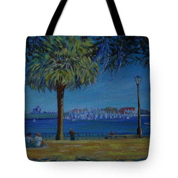 Tote Bag featuring the painting Charleston Harbor Sunday Regatta by Dorothy Allston Rogers
