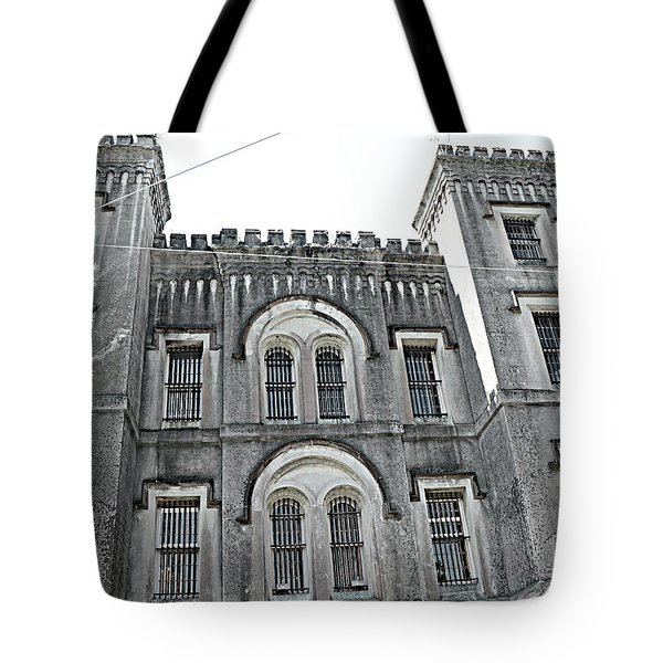 Tote Bag featuring the photograph Charleston Historical Haunted Old Jail House - Charleston Old Jail Civil War Architecture  by Kathy Fornal