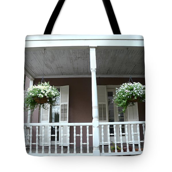 Charleston Historical Homes - Front Porches Hanging Summer Baskets Of Flowers Tote Bag