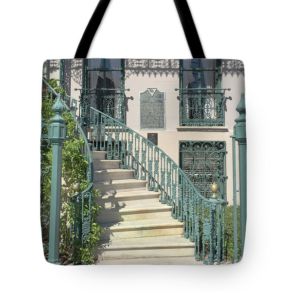 Tote Bag featuring the photograph Charleston Historical John Rutledge House - Aqua Teal Gate Staircase Architecture - Charleston Homes by Kathy Fornal