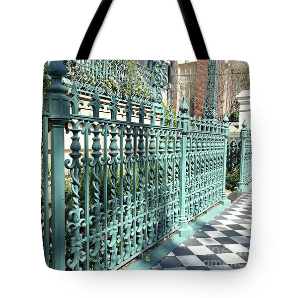 Tote Bag featuring the photograph Charleston Historical John Rutledge House Fleur Des Lis Aqua Teal Gate Fence Architecture  by Kathy Fornal