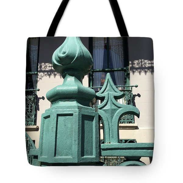 Tote Bag featuring the photograph Charleston John Rutledge House Fleur De Lis Symbols - French Quarter Architecture Gate Posts by Kathy Fornal