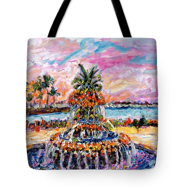Charleston Pineapple Fountain Sc Tote Bag