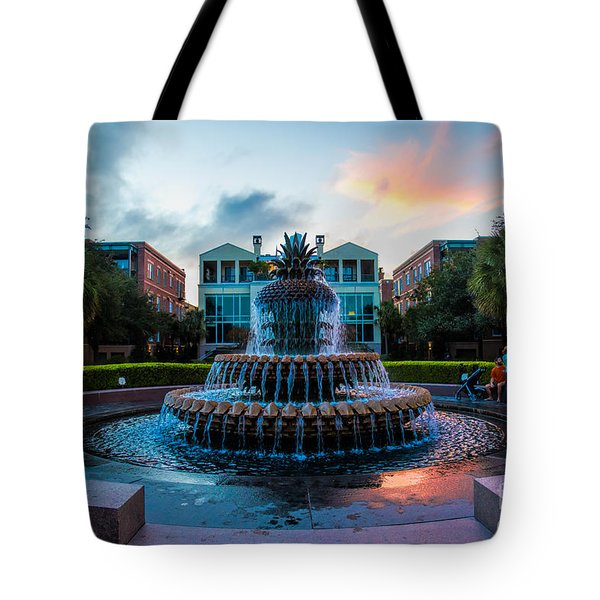 Charleston Pineapple Sunset Tote Bag by Robert Loe