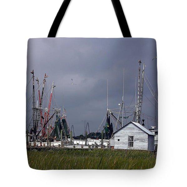 Charleston Shrimp Boat Tote Bag