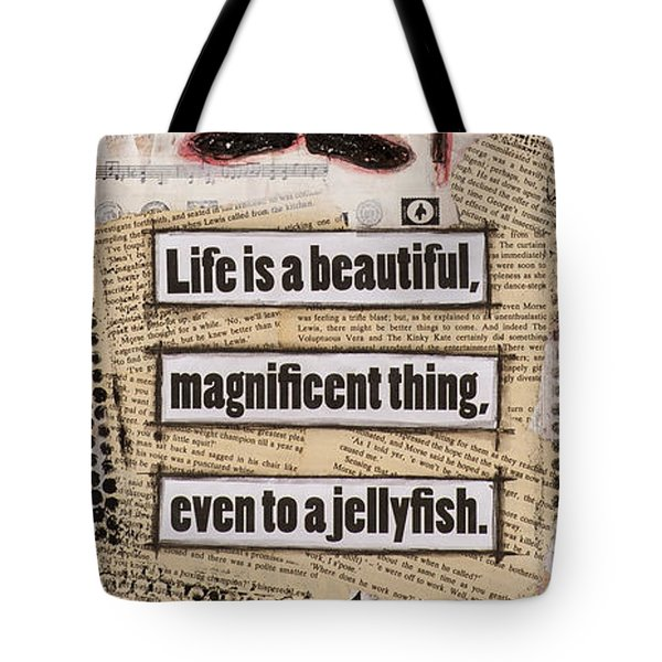 Charlie Chaplin Life Is Beautiful Tote Bag by Stanka Vukelic