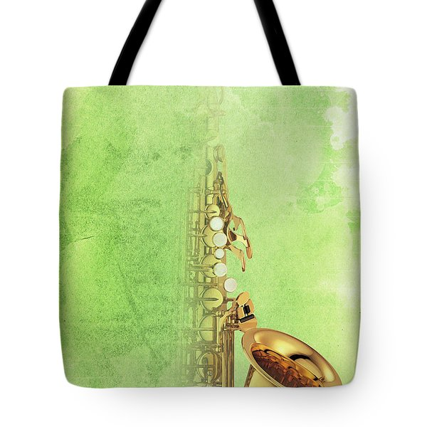 Charlie Parker Saxophone Green Vintage Poster And Quote, Gift For Musicians Tote Bag by Pablo Franchi
