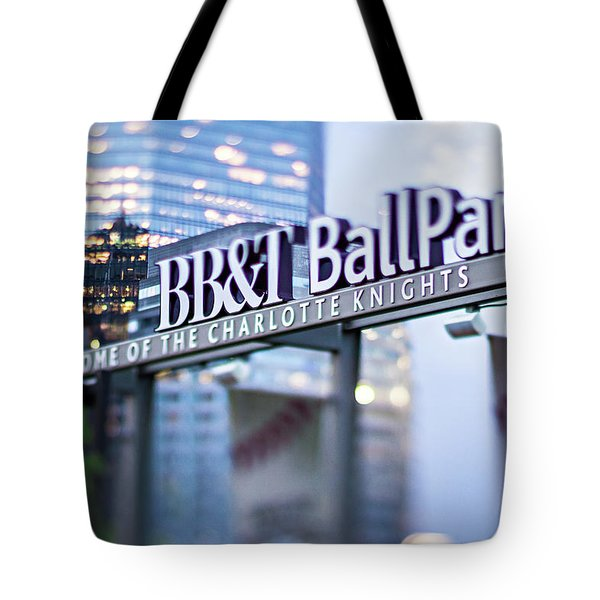 Charlotte Nc Usa  Bbt Baseball Park Sign  Tote Bag