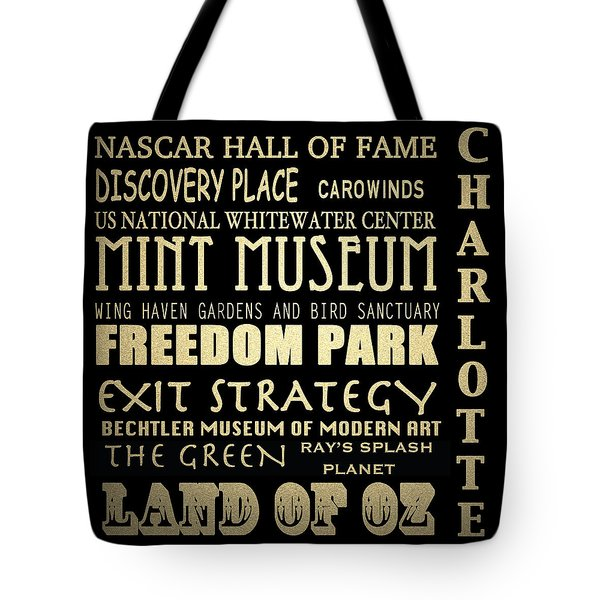 Charlotte North Carolina Famous Landmarks Tote Bag