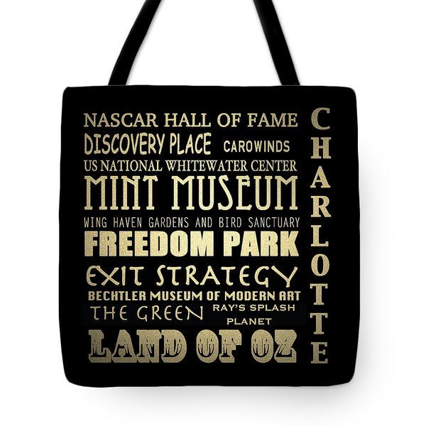Charlotte North Carolina Famous Landmarks Tote Bag