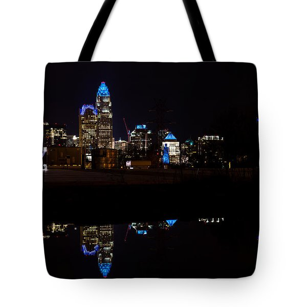 Tote Bag featuring the photograph Charlotte Reflection At Night by Serge Skiba