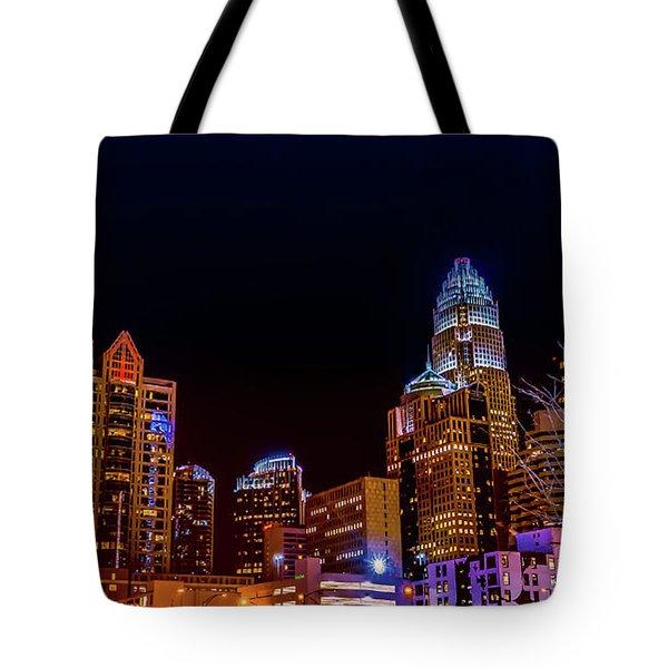 Charlotte Skyline At Night Tote Bag