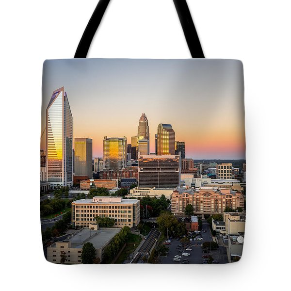 Tote Bag featuring the photograph Charlotte Skyline At Sunset by Serge Skiba