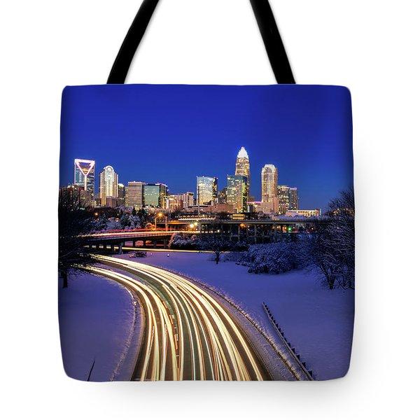 Charlotte Winter Skyline Tote Bag