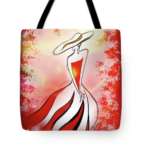 Charming Lady In Red Tote Bag by Irina Sztukowski