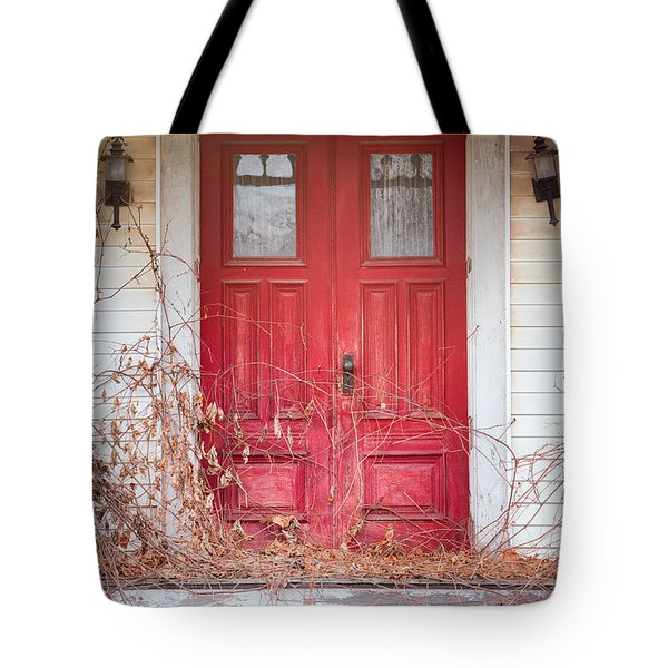 Tote Bag featuring the photograph Charming Old Red Doors Portrait by Gary Heller