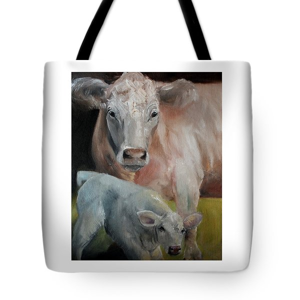 Charolais Cow Calf Painting Tote Bag by Michele Carter