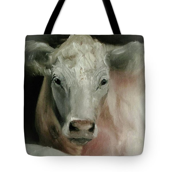 Charolais Cow Painting Tote Bag