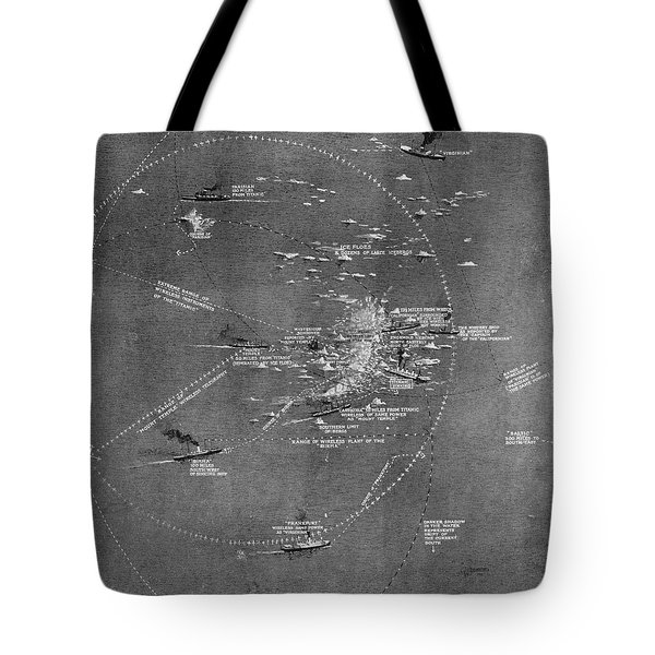 Chart Of The Rms Titanic Wreck Site Tote Bag