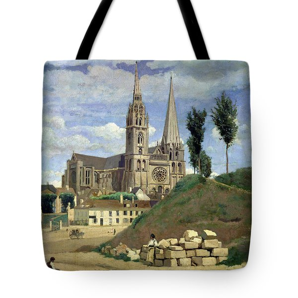 Chartres Cathedral Tote Bag by Jean Baptiste Camille Corot