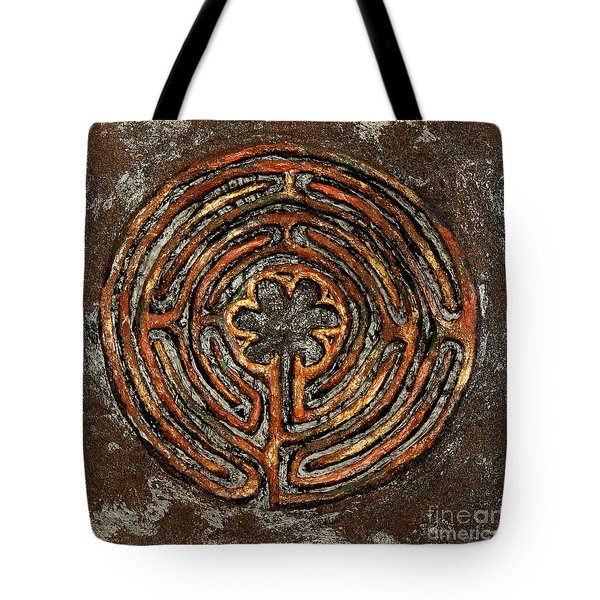 Chartres Style Labyrinth Earth Tones Tote Bag