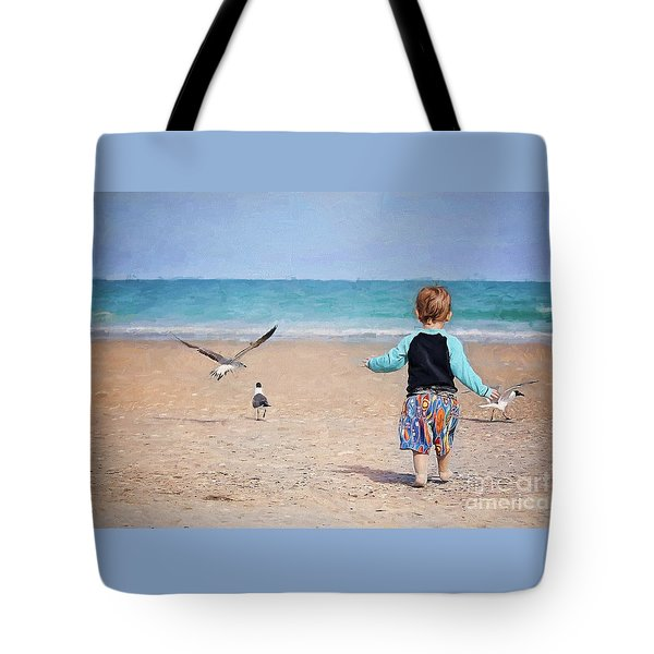 Chasing Birds On The Beach Tote Bag