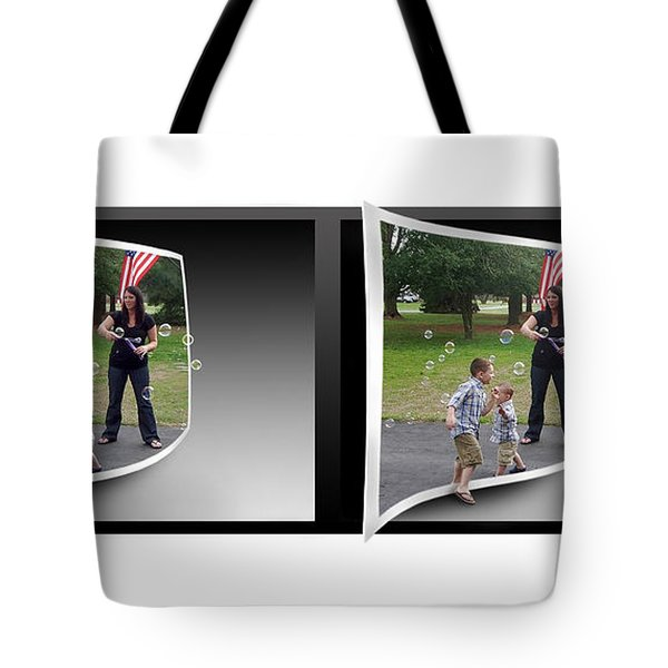 Tote Bag featuring the photograph Chasing Bubbles - Gently Cross Your Eyes And Focus On The Middle Image by Brian Wallace