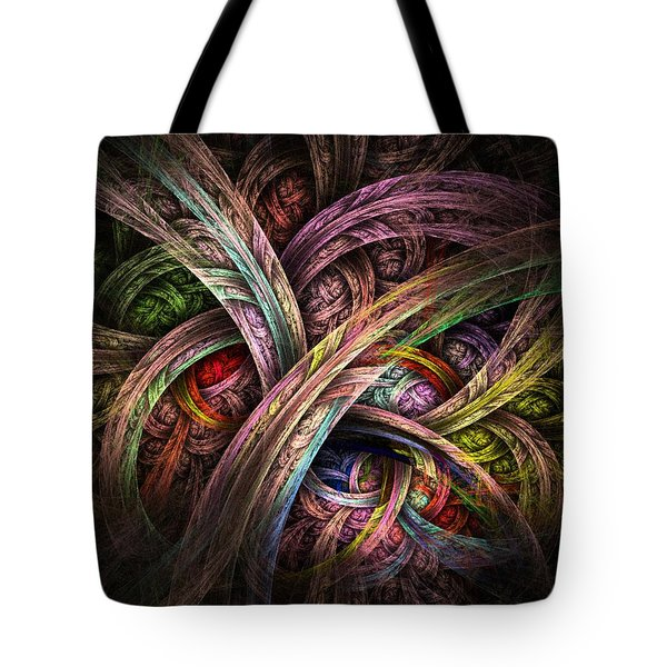Tote Bag featuring the digital art Chasing Colors - Fractal Art by NirvanaBlues