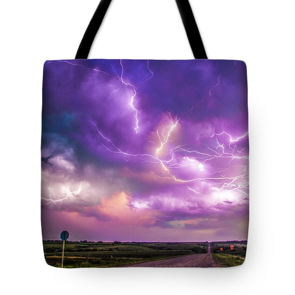 Chasing Nebraska Lightning 056 Tote Bag