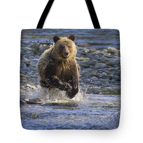 Chasing Salmon Tote Bag by Inge Riis McDonald
