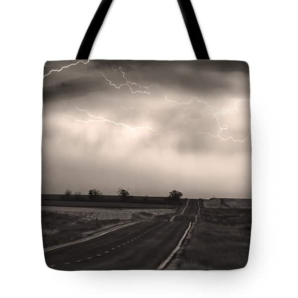 Chasing The Storm - County Rd 95 And Highway 52 - Co- Sepia Tote Bag by James BO  Insogna