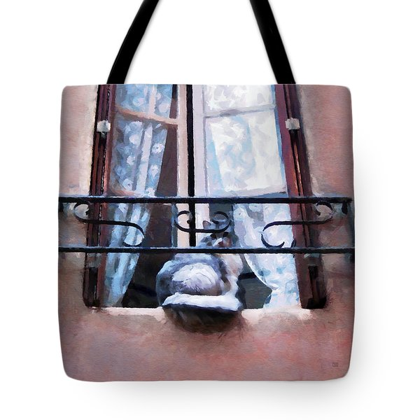 Chat Bleu Dans La Fenetre Rose Tote Bag