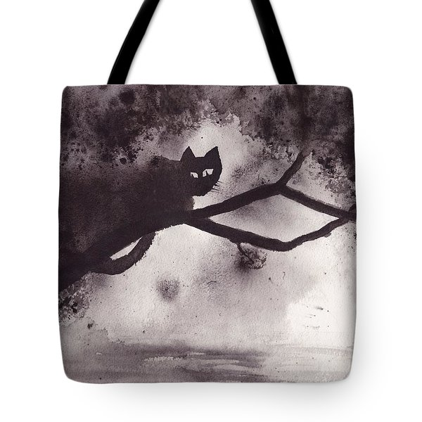 Tote Bag featuring the painting Chat Dans L'arbre by Marc Philippe Joly