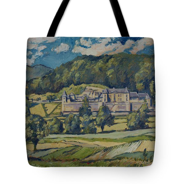 Tote Bag featuring the painting Chateau Neercanne by Nop Briex