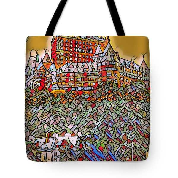 Chateaux Frontenac Stained Glass Style Tote Bag
