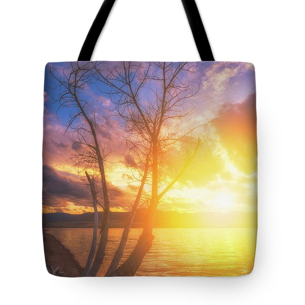 Tote Bag featuring the photograph Chatfield Lake Sunset by Darren White
