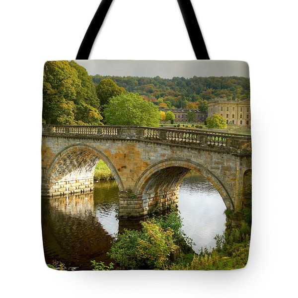 Tote Bag featuring the photograph Chatsworth House And Bridge by David Birchall