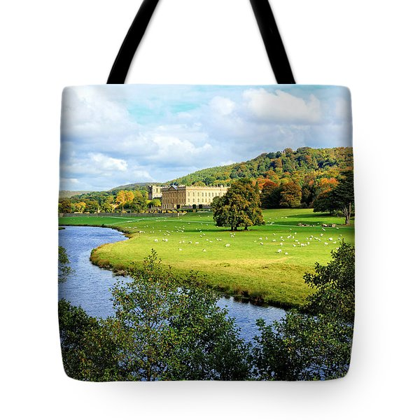 Tote Bag featuring the photograph Chatsworth House View by David Birchall