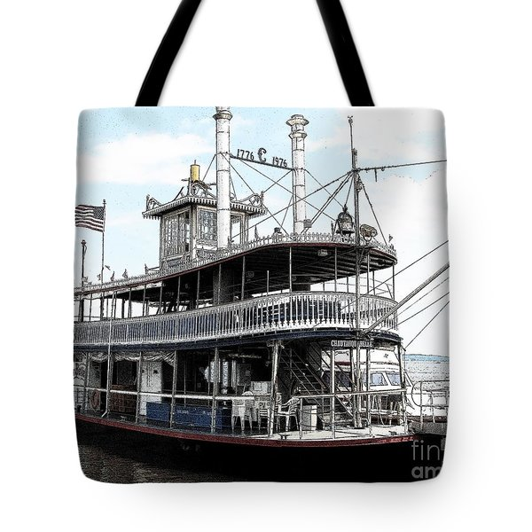 Chautauqua Belle Steamboat With Ink Sketch Effect Tote Bag