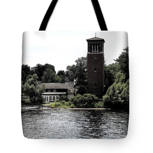 Chautauqua Institute Miller Bell Tower 2 With Ink Sketch Effect Tote Bag