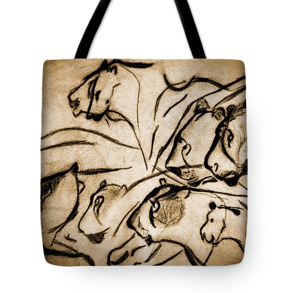 Chauvet Cave Lions Burned Leather Tote Bag